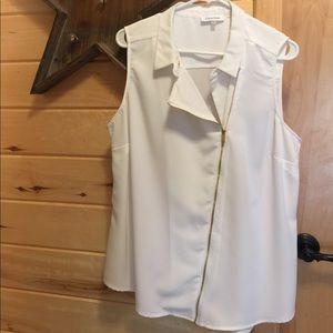 Calvin Klein cream sleeveless blouse